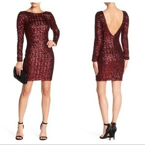 Dress the Population Lola Wine Sequin Dress Large